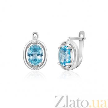 Серьги из серебра Лайма с голубыми и белыми фианитами SLX--СК2ФТ/392