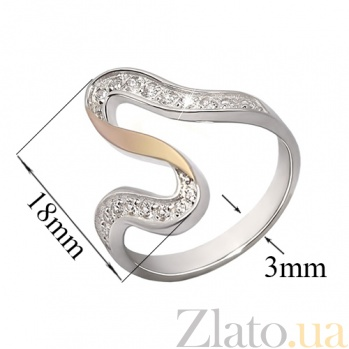 Серебряное кольцо с фианитами и золотой вставкой Розанна BGS--652к