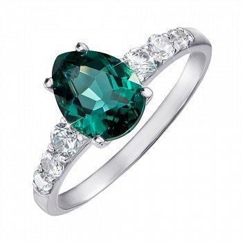 Серебряное кольцо с зеленым кварцем и фианитами 000063262