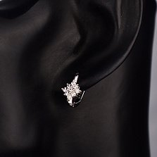 Серебряные серьги Ромбики с белыми фианитами