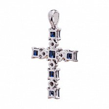 Золотой крест с сапфиарми и бриллиантами Небесная синева