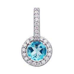 Серебряная подвеска с голубым кварцем и фианитами 000124774