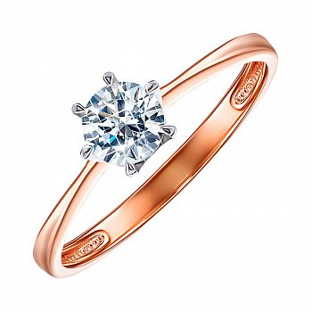 Золотое кольцо в комбинированном цвете с цирконием 000123217