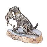 Серебряная визитница Охотничий пес