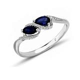 Кольцо в белом золоте Изабелла с сапфиром и бриллиантами
