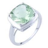 Серебряное кольцо Лина с зеленым аметистом