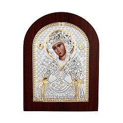 Икона Божья Матерь Семистрельная с серебром и позолотой в деревянной рамке 000140106