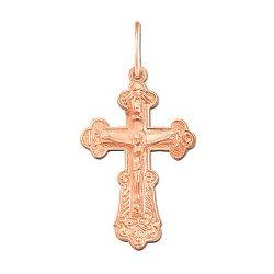 Крестик Счастливая судьба в красном золоте