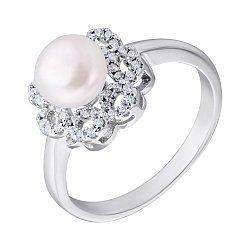 Серебряное кольцо с жемчугом и фианитами 000132598
