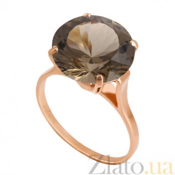 Золотое кольцо с раухтопазом Диодора 000024289