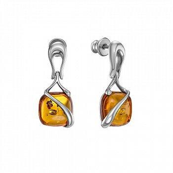 Серебряные серьги-подвески с янтарем 000146326