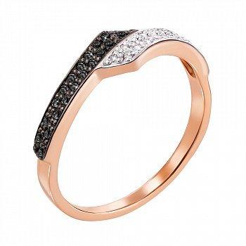 Золотое кольцо в комбинированном цвете с черными и белыми бриллиантами 000106487