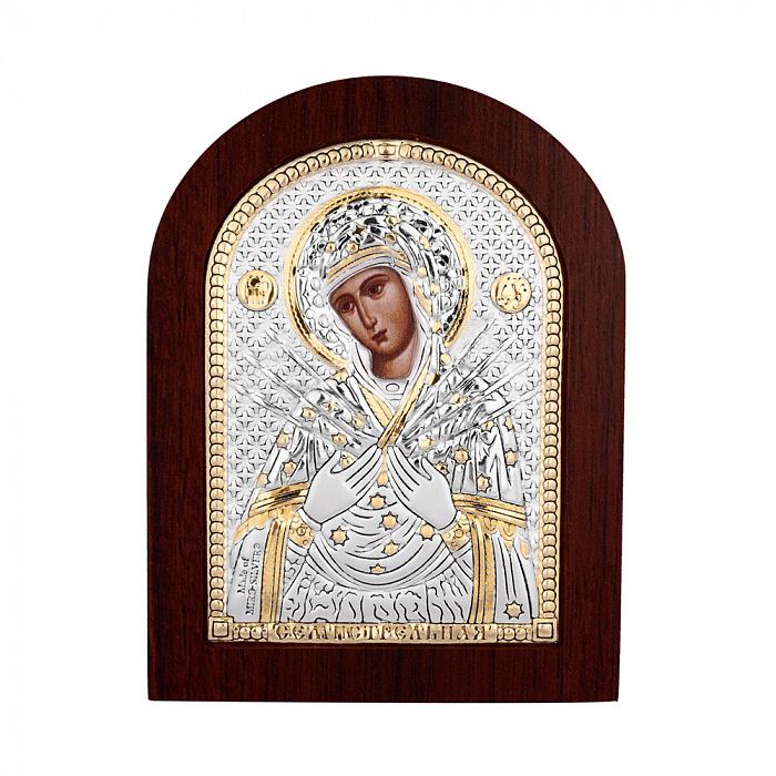 Икона Божья Матерь Семистрельная с серебром и позолотой в деревянной рамке 000140106 000140106