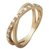 Золотое кольцо с бриллиантами в красном цвете Перекрестки