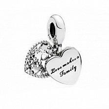 Серебряный двойной шарм-сердце Love Makes a Family с бирюзовой эмалью и фианитом в стиле Пандора