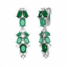 Серебряные серьги-подвески Люсьен с зелеными агатом, кварцем и прозрачным цирконием