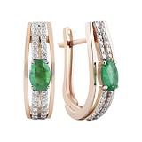 Золотые серьги с изумрудами и бриллиантами Ферония