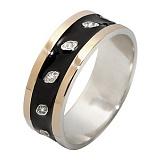 Серебряное кольцо с фианитами и золотой вставкой Ирена