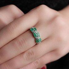 Серебряное кольцо Фиолент с изумрудами и фианитами
