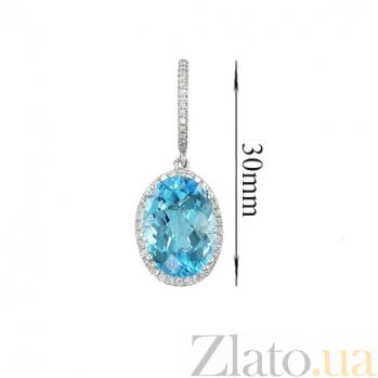 Золотые серьги с топазами и бриллиантами Аксинья 1С034-0778