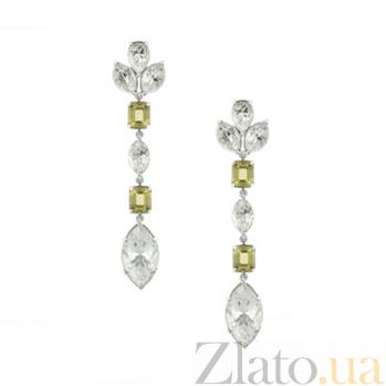 Серьги из белого золота с цитринами и топазами Маркиз 000029620