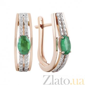 Золотые серьги с изумрудами и бриллиантами Ферония KBL--С2490/крас/изум