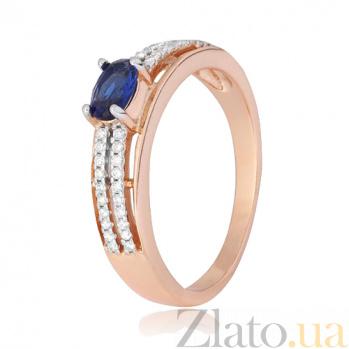 Позолоченное серебряное кольцо Шеннон с синим и белым цирконием 000028448