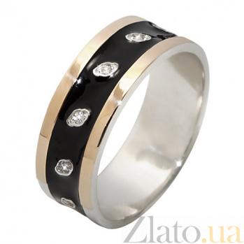 Серебряное кольцо с фианитами и золотой вставкой Ирена BGS--669к