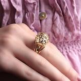 Золотое кольцо Аэлина с белым жемчугом