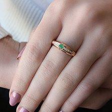 Золотое кольцо Мисси с изумрудом и бриллиантами