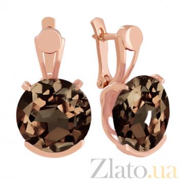 Золотые серьги с раухтопазами Аврея VLN--113-1346-2