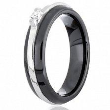Керамическое кольцо Бенвинда с серебром и фианитом