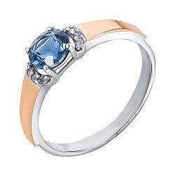 Серебряное кольцо с золотыми накладками, танзанитом и цирконием 000141150