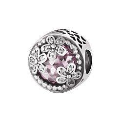 Серебряный шарм с розовым и белым цирконием 000078619