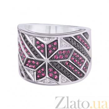 Золотое кольцо с бриллиантами и рубинами Рианна 1К759-0235