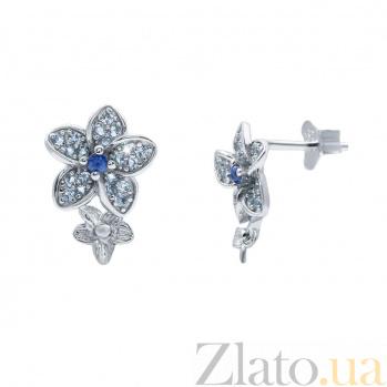 Серебряные серьги с фианитами Нежность AQA--KHT-0175-ET