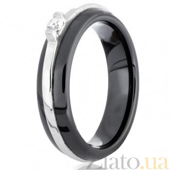 Керамическое кольцо Бенвинда с серебром и фианитом 000030958