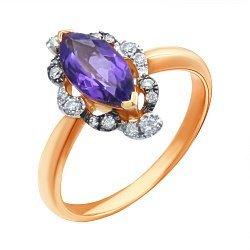 Золотое кольцо в комбинированном цвете с аметистом и бриллиантами 000139422