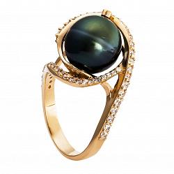 Золотое кольцо Африка с жемчугом и фианитами