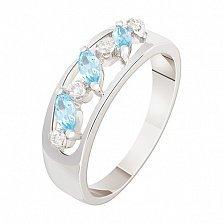 Кольцо в белом золоте Лавиния с топазами и бриллиантами