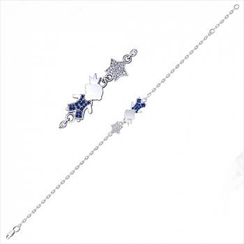 Серебряный браслет с синими и белыми фианитами с родированием 000035413