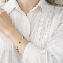 Серебряный браслет Глаз Фатимы с декоративными подвесками