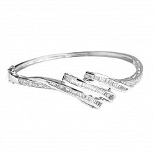 Серебряный литой браслет Вирджиния с фианитами огранки багет и круг