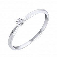 Золотое помолвочное кольцо Кенигсберг в белом цвете с бриллиантом