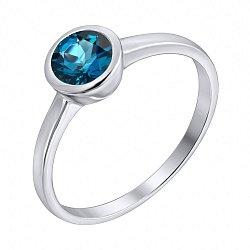 Серебряное кольцо с завальцованным лондон топазом 000103125