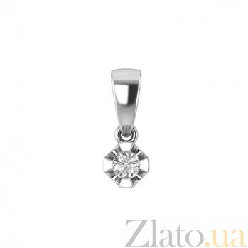 Золотой подвес в белом цвете с бриллиантом Сириус 000030755
