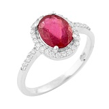 Кольцо из серебра Мириам с рубином и фианитами