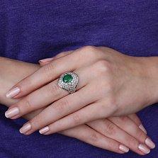 Золотое кольцо Медея с изумрудом и бриллиантами