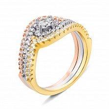 Наборное серебряное кольцо с фианитами и позолотой 000135415