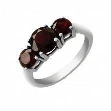 Серебряное кольцо Дарина с гранатовыми фианитами